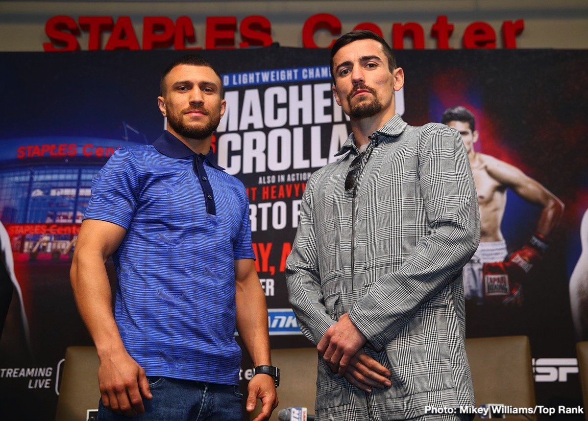 Vasily Lomachenko - It seems virtually no-one is prepared to give British challenger, former WBA lightweight champ Anthony Crolla any chance at all against the supreme skills of current 135 pound king and pound-for-pound best (in the opinion of most) Vasyl Lomachenko. Crolla, refusing to be fazed ahead of tomorrow night's fight in Los Angeles, may or may not have looked at the betting odds available on the fight (probably not, and that's not a bad thing), but those who do take a look will see that the southpaw from Ukraine is listed in some places as a whopping great 100/1 favorite over the Britisher.