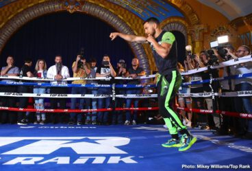 Anthony Crolla, Gilberto Ramirez, Tommy Karpency, Vasily Lomachenko -  WBA/WBO lightweight world champion Vasiliy Lomachenko felt right at home Tuesday at the Ukrainian Culture Center, site of Tuesday's media workout. Lomachenko (12-1, 9 KOs) won a pair of Olympic gold medals (2008 and 2012) for his native Ukraine.