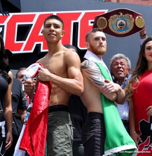 """Jaime Munguia - WBO Junior Middleweight World Champion Jaime Munguia (32-0, 26 KOs) and mandatory 154-pound challenger Dennis Hurricane"""" Hogan (28-1-1, 7 KOs) hosted their weigh in today ahead of their 12-round fight for Munguia's title. They were joined by Oscar De La Hoya, Chairman and CEO of Golden Boy, along with Fernando Beltran, CEO of Zanfer Promotions, among others.The event will take place Saturday, April 13, 2019 at Arena Monterrey in Monterrey, Nuevo Leon, Mexico and will be streamed live exclusively on DAZN."""