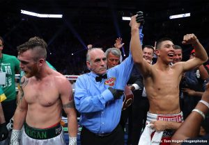 """Dennis Hogan - Jaime Munguia (33-0, 26 KOs) retained his WBO Junior Middleweight World Champion against mandatory challenger Dennis """"Hurricane"""" Hogan (28-2-1, 7 KOs) via 12-round majority decision victory in front of a packed house of fans at Arena Monterrey in Monterrey, Nuevo Leon, Mexico. One judge scored the fight a 114-114 draw, while two judges saw Munguia winning the fight with scores of 115-113 and 116-112. The battle was streamed live exclusively on DAZN."""