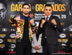 "Adrian Granados, Alexander Dimitrenko, Andy Ruiz Jr, Danny Garcia - Former two-division champion Danny ""Swift"" Garcia and welterweight contender Adrian ""El Tigre"" Granados went face-to-face  at the final press conference before the square-off this Saturday night in the main event of Premier Boxing Champions on FOX and FOX Deportes from Dignity Health Sports Park in Carson, California."