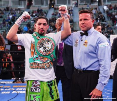 "Adrian Granados, Alexander Dimitrenko, Andy Ruiz Jr, Brandon Figueroa, Danny Garcia - Former two-division champion Danny ""Swift"" Garcia (35-2, 21 KOs) dropped Adrian Granados (20-7-2, 14 KOs) three times before stopping him in round seven Saturday night in a welterweight showdown that headlined Boxing Champions on FOX and FOX Deportes from Dignity Health Sports Park in Carson, California."