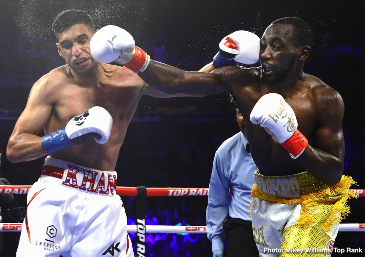 "Edis Tatli - In a horrible ending to a poor mismatch, WBO welterweight champion Terence ""Bud"" Crawford (35-0, 26 KOs) stopped Amir Khan (33-5, 20 KOs) in the sixth round with a low blow on Saturday night at Madison Square Garden in New York. There was a huge crowd of 14,091 that likely went home unhappy with the result of the fight, which saw Crawford drop the 32-year-old Khan with a low blow."