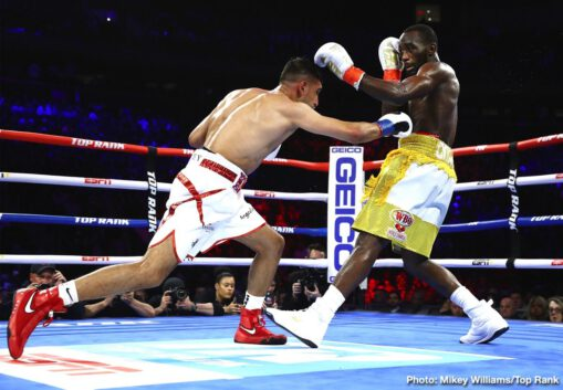 "Amir Khan, Shakur Stevenson, Teofimo Lopez, Terence Crawford - The pound-for-pound king, Terence ""Bud"" Crawford, will not need to relinquish his throne. Crawford (35-0, 26 KOs) scored an unusual sixth-round TKO over Amir ""King"" Khan in front of 14,091 fans at Madison Square Garden to defend his WBO welterweight title for the second time."