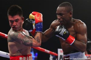 Steve Claggett - Rising 140-pound contender Yves Ulysse Jr. (18-1, 9 KOs) of Montreal, Canada captured the vacant WBA Gold Super Lightweight Title by defeating Steve Claggett (27-6-2, 17 KOs) of Calgary, Canada via unanimous decision in the high-paced, 10-round main-event of the April 25 edition of Golden Boy DAZN Thursday Night Fights at Fantasy Springs Resort Casino. Ulysse won with scores of 96-94, 97-93, and 97-93.