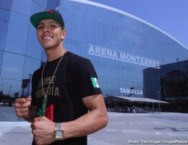 "Dennis Hogan, Jaime Munguia - WBO Junior Middleweight World Champion Jaime Munguia (32-0, 26 KOs) and mandatory 154-pound challenger Dennis Hurricane"" Hogan (28-1-1, 7 KOs) hosted their weigh in today ahead of their 12-round fight for Munguia's title. They were joined by Oscar De La Hoya, Chairman and CEO of Golden Boy, along with Fernando Beltran, CEO of Zanfer Promotions, among others.The event will take place Saturday, April 13, 2019 at Arena Monterrey in Monterrey, Nuevo Leon, Mexico and will be streamed live exclusively on DAZN."