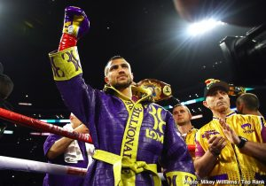 Teofimo Lopez, Vasiliy Lomachenko - Vasiliy Lomachenko (14-1, 10 KOs) will be risking his WBA/WBC/WBO lightweight titles when he faces IBF champion Teofimo Lopez (15-0, 12 KOs) in a unification clash in mid to late October of this year.