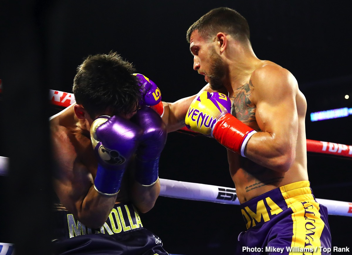 Vasily Lomachenko - As fans know, pound-for-pound king Vasyl Lomachenko has, during his career, been forced to take some time out of the ring due to an injured shoulder, and there are reports surfacing that say the lightweight champ suffered another injury in last night's brutally commanding KO win over Anthony Crolla: that of a broken right hand.