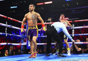"""Anthony Crolla, Bob Arum, Gervonta """"Tank"""" Davis - WBA/WBO lightweight champion Vasiliy Lomachenko (13-1, 10 KOs) and his promoter Bob Arum seemed to get annoyed last Friday night when they were asked about potentially fighting the highly talented young Gervonta """"Tank"""" Davis (21-0, 20 KOs) by the boxing media after Loma's blowout fourth round knockout win over the hapless Anthony Crolla (34-7-3, 13 KOs) at the Staples Center in Los Angeles, California. Arum sounded highly upset in telling the media that Gervonta's promoter Floyd Mayweather Jr. says """"the kids not ready."""""""