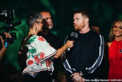 """Daniel Jacobs, Saul """"Canelo"""" Alvarez - WBC, WBA, Lineal and Ring Magazine Middleweight World Champion Canelo Alvarez (50-1-2, 34 KOs) and IBF Middleweight World Champion Daniel """"Miracle Man"""" Jacobs (35-2, 29 KOs) made their grand arrivals today at the MGM Grand Resort and Casino in Las Vegas ahead of their 12-round unification fight. The event will take place on Saturday, May 4, 2019 at T-Mobile Arena in Las Vegas and will be streamed live exclusively on DAZN."""
