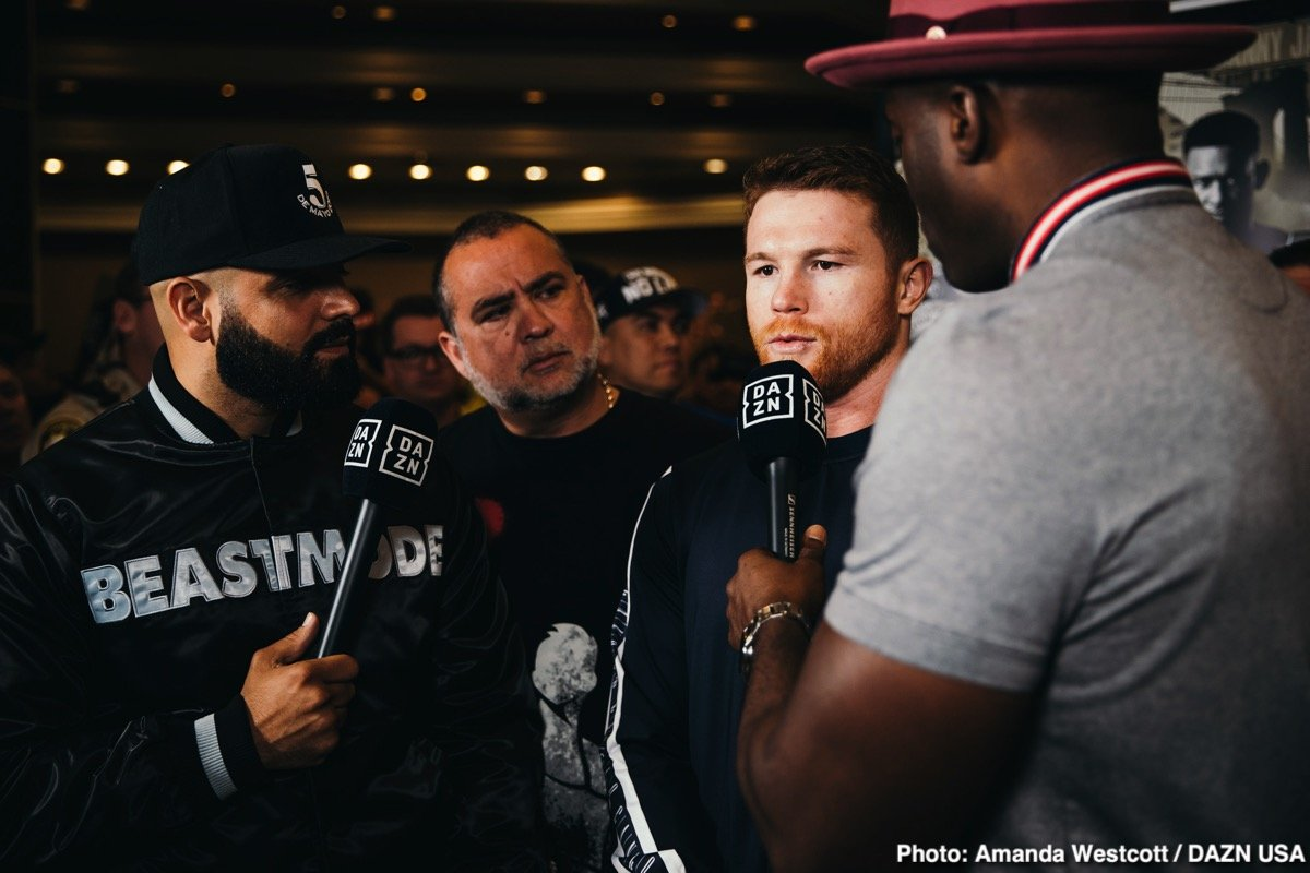 "Saul ""Canelo"" Alvarez - WBC, WBA, Lineal and Ring Magazine Middleweight World Champion Canelo Alvarez (50-1-2, 34 KOs) and IBF Middleweight World Champion Daniel ""Miracle Man"" Jacobs (35-2, 29 KOs) made their grand arrivals today at the MGM Grand Resort and Casino in Las Vegas ahead of their 12-round unification fight. The event will take place on Saturday, May 4, 2019 at T-Mobile Arena in Las Vegas and will be streamed live exclusively on DAZN."