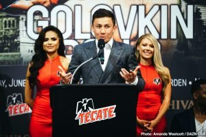 """Gennady Golovkin - Boxing's pound-for-pound superstar attraction GENNADY """"GGG"""" GOLOVKIN and undefeated Top-10 world-rated contender STEVE ROLLS concluded their coast-to-coast media tour with a Los Angeles press conference today at The Conga Room at LA LIVE. Golovkin (38-1-1, 34 KOs), from Karaganda, Kazakhstan, formally announced to media that he is bringing his Big Drama Show back to the """"Mecca of Boxing"""" on Saturday, June 8, in a 12-round rumble with Rolls (19-0, 10 KOs), who hails from Toronto. The fight will be contested at a maximum weight of 164 lbs. and marks GGG's debut on DAZN, after signing a six-fight global partnership in March."""