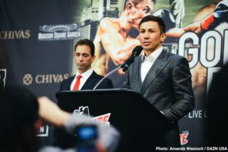 "Gennady Golovkin, Steve Rolls - Boxing's pound-for-pound superstar attraction GENNADY ""GGG"" GOLOVKIN and undefeated Top-10 world-rated contender STEVE ROLLS kicked off their coast-to-coast media tour with a New York press conference today at Madison Square Garden. Golovkin (38-1-1, 34 KOs), from Karaganda, Kazakhstan, formally announced to media that he is bringing his Big Drama Show back to the ""Mecca of Boxing"" on Saturday, June 8, in a 12-round rumble with Rolls (19-0, 10 KOs), who hails from Toronto. The fight will be contested at a maximum weight of 164 lbs. and marks GGG's debut on DAZN, after signing a six-fight global partnership in March."