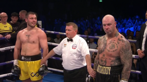 Josh Kelly - Heavyweight Dave Allen (17-4-2, 14 KOs) sent former WBA World heavyweight champion Lucas 'Big Daddy' Browne (28-2, 24 KOs) down to his second career defeat in stopping him in round three with a beautiful left-hand body shot on Saturday night on DAZN at the O2 Arena in London, England.