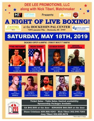"""-   Dee Lee Promotions, LLC. along with Nick Tiberi, Matchmaker presents  """"A NIGHT OF LIVE BOXING"""" at the Hockessin PAL Center in Hockessin, DE, Saturday, May 18, 2019. Hector """"Macho Time"""" Camacho, Jr (58-7-1/32 ko's) of San Jaun, Puerto Rico is set to headline Dee Lee's  latest top line professional fight card and Delaware fight fans are in for a treat.  Victor Abreu (9-5-0/5 ko's), Dominican Republic, has signed on to face Camacho, Jr. in an 8 round middleweight battle and both fighters have promised that one of them will see the canvas. Camacho, Jr. may be the son of a legend but, as his record will attest,66 bouts with 32 knockouts is hardly fighting in anyone's shadow."""