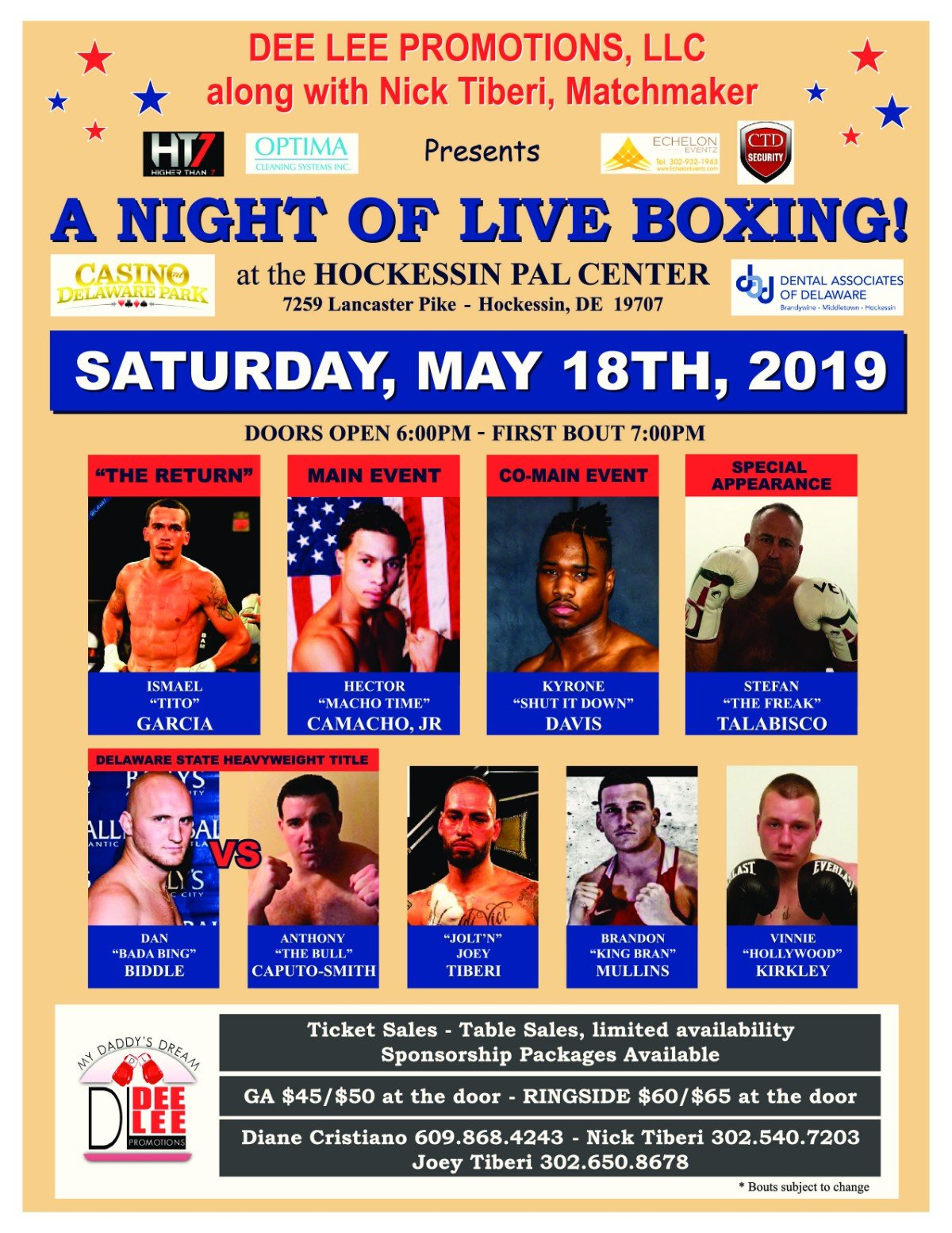 "-   Dee Lee Promotions, LLC. along with Nick Tiberi, Matchmaker presents  ""A NIGHT OF LIVE BOXING"" at the Hockessin PAL Center in Hockessin, DE, Saturday, May 18, 2019. Hector ""Macho Time"" Camacho, Jr (58-7-1/32 ko's) of San Jaun, Puerto Rico is set to headline Dee Lee's  latest top line professional fight card and Delaware fight fans are in for a treat.  Victor Abreu (9-5-0/5 ko's), Dominican Republic, has signed on to face Camacho, Jr. in an 8 round middleweight battle and both fighters have promised that one of them will see the canvas. Camacho, Jr. may be the son of a legend but, as his record will attest,66 bouts with 32 knockouts is hardly fighting in anyone's shadow."