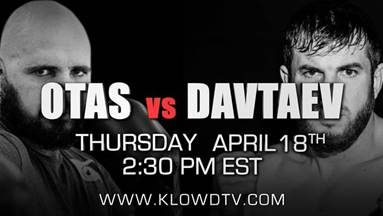 Apti Davtaev -  KlowdTV is proud to announce that it will LIVE stream the WBA International Heavyweight title bout featuring Apti Davtaev and Pedro Otas on Thursday, April 18th at 2:30 PM ET.  The entire card is being offered to all KlowdTV US subscribers for FREE on the PPV Channel.  Encore airings of the fight will be featured on KlowdTV post the live event.