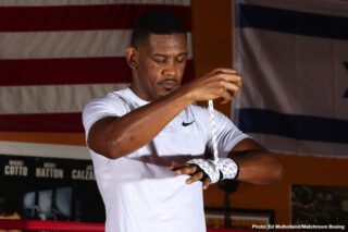 IBF Middleweight World Champion Daniel Jacobs (35-2, 29KOs) of Brooklyn, N.Y. hosted a media workout today at CEA Fitness in Long Island, N.Y. ahead of his 12-round unification fight against Canelo Alvarez (50-1-2, 34 KOs) of Guadalajara, Mexico. Andre Rozier, his trainer, also attended the workout. The event will take place Saturday, May 4 at T-Mobile Arena in Las Vegas and will be streamed live exclusively on DAZN.