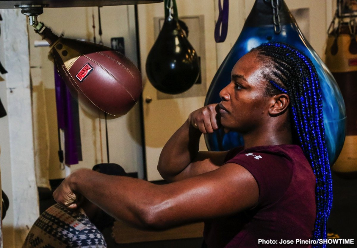 "Claressa ""T-Rex"" Shields - WBA, WBC and IBF Middleweight World Champion Claressa Shields hosted a media workout at 5th Street Gym in Miami Thursday as she nears her showdown against WBO Middleweight World Champion Christina Hammer for the undisputed middleweight world championship Saturday April 13 live on SHOWTIME from Boardwalk Hall in Atlantic City, N.J."