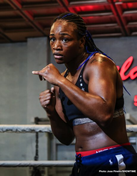 """Christina Hammer, Claressa """"T-Rex"""" Shields - WBA, WBC and IBF Middleweight World Champion Claressa Shields hosted a media workout at 5th Street Gym in Miami Thursday as she nears her showdown against WBO Middleweight World Champion Christina Hammer for the undisputed middleweight world championship Saturday April 13 live on SHOWTIME from Boardwalk Hall in Atlantic City, N.J."""