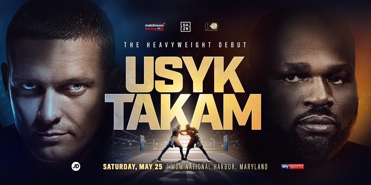 Aleksandr Usyk - Pound-for-pound star Oleksandr Usyk will make his Heavyweight debut against Carlos Takam at the MGM National Harbor in Oxon Hill, Maryland on Saturday May 25, live on DAZN in the US and on Sky Sports in the UK.