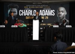 Brandon Adams, Jermall Charlo - Unbeaten WBC Interim Middleweight Champion and Houston-native Jermall Charlo went face to face with middleweight contender Brandon Adams Thursday at a press conference in Charlo's hometown to preview their showdown Saturday, June 29 live on SHOWTIME (9 p.m. ET/6 p.m. PT) from NRG Arena and presented by Premier Boxing Champions.