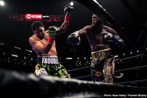 Dominic Breazeale - Deontay Wilder may have opened the door for his hoped for fights with Anthony Joshua and Tyson Fury with his first round destruction of Dominic Breazeale on Saturday night. Wilder (41-0-1, 40 KOs) left no questions in the minds of the 13,181 fans at the Barclays Center in New York, who the better fighter was with his knockout win over Breazeale.