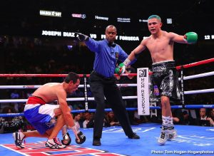 Joseph Diaz Jr - Vergil Ortiz Jr. (13-0, 13 KOs) of Dallas, Texas overpowered  Mauricio Herrera (24-9, 7 KOs) of Riverside, Calif. to win by knockout in the third round of a welterweight fight originally scheduled for 10 rounds. The fight was brutally ended by several hard shots at :29 seconds of the aforementioned round.