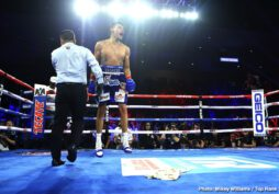 """Emanuel Navarrete, Isaac Dogboe - WBO super bantamweight champion Emanuel Navarrete (27-1, 23 KOs) beat Isaac """"Royal Storm"""" Dogboe (20-2, 14 KOs) by a 12th round stoppage in their rematch at the Tucson Arena in Tucson, Arizona. Navarrete, 24, knocked the much smaller Dogboe down in rounds six and twelve. The fight was stopped in the 12th with Dogboe getting pummeled."""