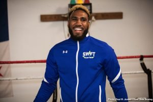 """Julian """"J-Rock"""" Williams - Unified and undefeated IBF and WBA 154-pound champion """"Swift'' Jarrett Hurd held a media workout at his gym in Temple Hills, Maryland on Tuesday as he prepares for his hometown return in a title defense against top contender Julian """"J-Rock'' Williams Saturday, May 11 that headlines Premier Boxing Champions on FOX and FOX Deportes from EagleBank Arena in Fairfax, Virginia."""