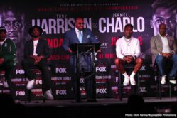 """Jermell Charlo, Tony Harrison -  WBC Super Welterweight Champion Tony """"Superbad'' Harrison and former world champion Jermell Charlo exchanged words at a heated Los Angeles press conference Wednesday ahead of their world championship rematch that headlines Premier Boxing Champions on FOX and FOX Deportes Sunday, June 23 from Mandalay Bay Events Center in Las Vegas (8 p.m. ET/5 p.m. PT)."""
