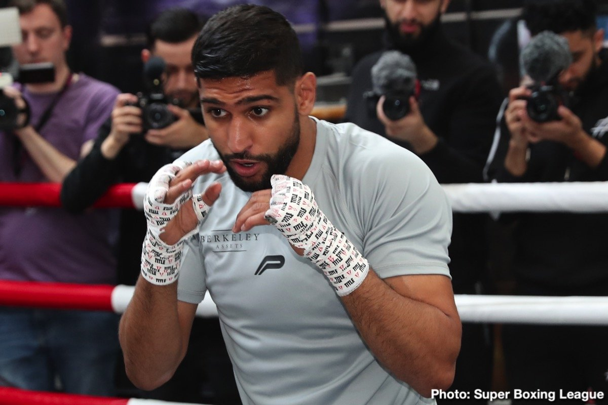 Two Time World Champion Amir Khan put on a power packed training session at his gym HQ in Bolton today ahead of his departure for Saudi Arabia for his fight with rival Neeraj Goyat.