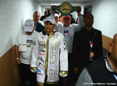 Emanuel Navarrete, Francisco Vargas, Isaac Dogboe, Miguel Berchelt -  It was pure savagery in the desert. Miguel Berchelt defended his WBC super featherweight world title over Francisco Vargas after Vargas retired on his stool following the sixth round of a brawl in front of 4,424 fans at Tucson Arena.