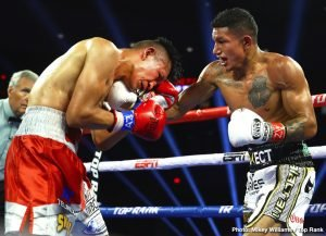 Miguel Berchelt -  It was pure savagery in the desert. Miguel Berchelt defended his WBC super featherweight world title over Francisco Vargas after Vargas retired on his stool following the sixth round of a brawl in front of 4,424 fans at Tucson Arena.