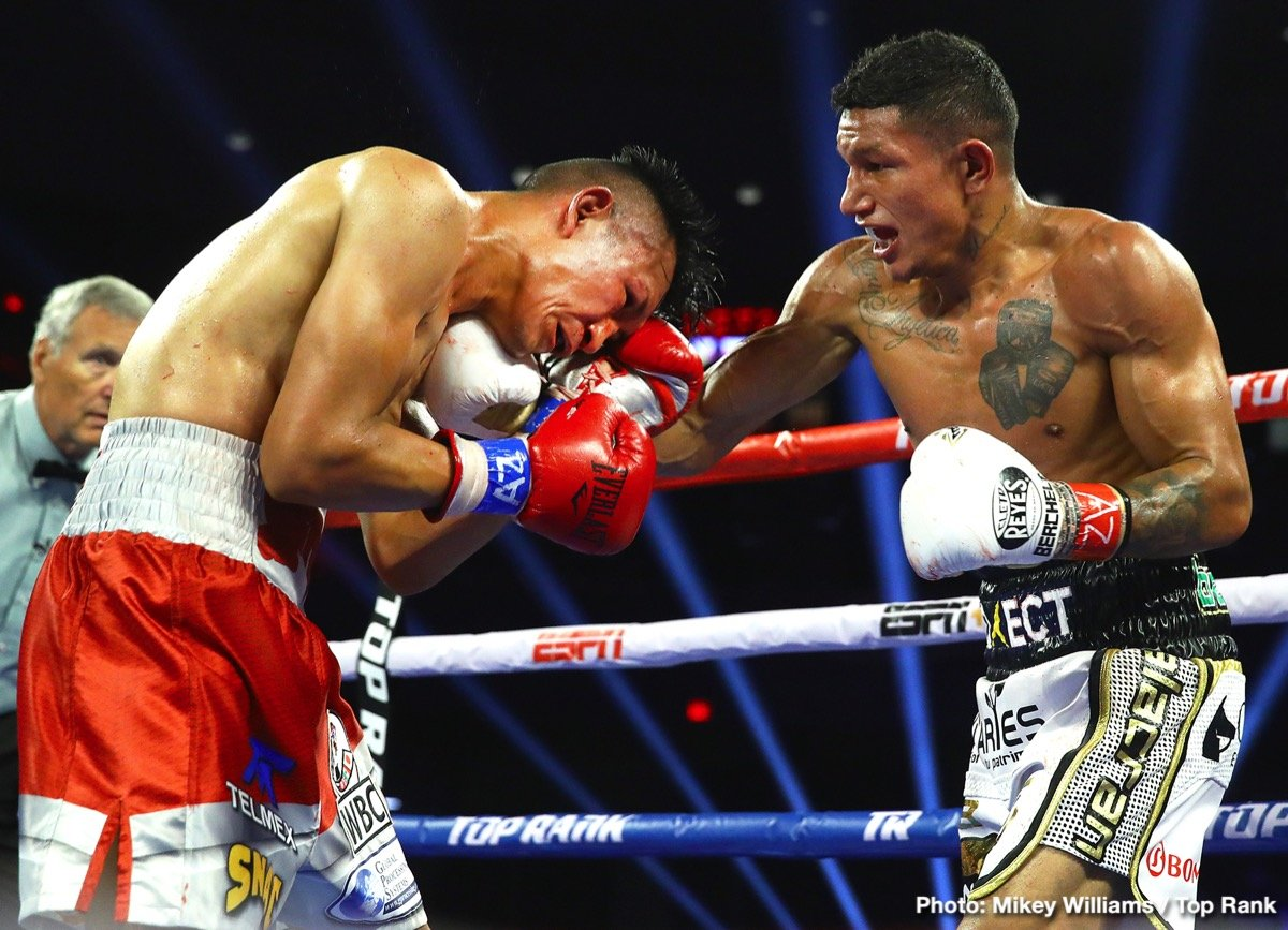 It was pure savagery in the desert. Miguel Berchelt defended his WBC super featherweight world title over Francisco Vargas after Vargas retired on his stool following the sixth round of a brawl in front of 4,424 fans at Tucson Arena.