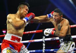 Francisco Vargas, Miguel Berchelt - WBC super featherweight champion Miguel Berchelt (36-1, 32 KOs) beat the hapless former WBC 135 pound champion Francisco 'El Bandito' Vargas (25-2-2, 18 KOs) like a drum in defeating him by a sixth round stoppage on Saturday night on ESPN in front of a sizable crowd of 4,424 at the Tuscon Arena in Tucson, Arizona.