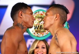 Miguel Berchelt - On Saturday night ESPN and FOX go head to head, a troubling trend that tends to take away from both broadcasts viewership numbers. On ESPN after the UFC prelims, Miguel Berchelt and Francisco Vargas do battle in a rematch bout from around 27 months ago. In the co-feature Emanuel Navarrete and Isaac Dogboe run in back as well from a clean victory by Navarrete in December. On FOX in primetime the unified junior middleweight champion Jarrett Hurd takes on one-loss Julian Williams in a card featuring rising prospect Mario Barrios and Korobov vs. Akeem. Technically the top of the each card won't compete directly as the PBC event should be done before the ESPN main event fighters enter the ring.Let's start by breaking down the Top Rank rematch doubleheader beginning with Emanuel Navarrete vs. Isaac Dogboe 2.