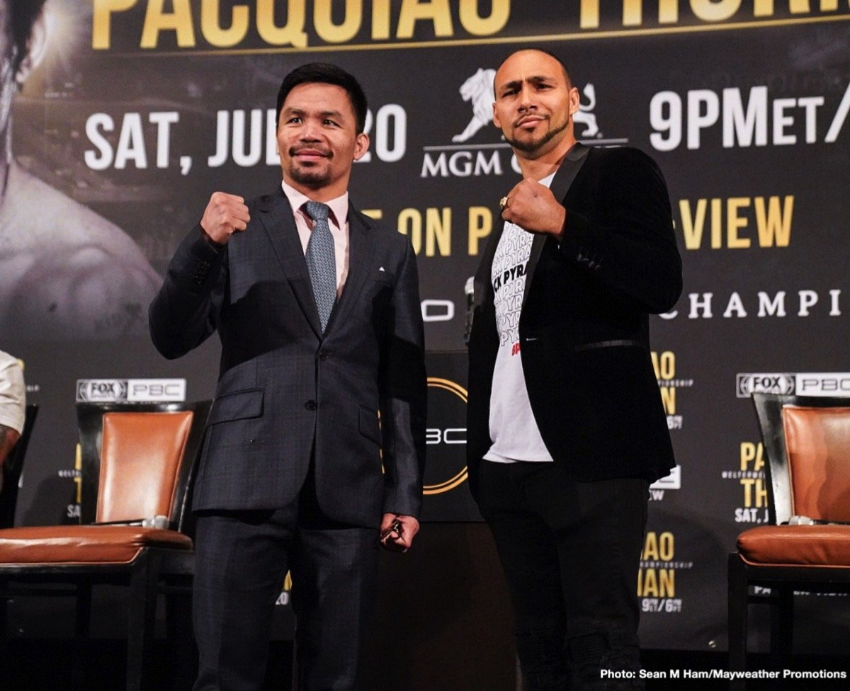 Keith Thurman - Eight-division champion Manny Pacquiao and unbeaten welterweight world champion Keith Thurman, plus unbeaten super middleweight champion Caleb Plant and unbeaten Mike Lee,squared-off for the second day in a row Wednesday, this time at a Los Angeles press conference as they previewed their respective showdowns taking place Saturday July 20 presented by Premier Boxing Champions and FOX Sports from the MGM Grand Garden Arena in Las Vegas.