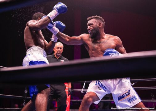 """Austin Trout, Terrell Gausha - Former super welterweight champion Austin """"No Doubt'' Trout (31-5-1, 17 KOs) battled former title challenger Terrell Gausha (21-1-1, 10 KOs) to a split draw (96-94 for Trout, 99-91 for Gausha, 95-95) in a 10-round super welterweight bout that headlined Premier Boxing Champions on FS1 and FOX Deportes on Saturday night from Beau Rivage Resort Casino in Biloxi, Mississippi."""