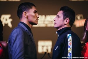 """Vergil Ortiz Jr. - The undercard of the spectacular Canelo vs. Jacobs card hosted a press conference featuring Vergil Ortiz Jr. (12-0, 12 KOs), Mauricio """"El Maestro"""" Herrera (24-8, 7 KOs), Joseph """"JoJo"""" Diaz Jr. (28-1, 14 KOs), Freddy Fonseca(26-1-1, 17 KOs), Lamont Roach Jr. (18-0-1, 7 KOs), and Jonathan """"Polvo"""" Oquendo (30-5, 19 KOs).The event will take place Saturday, May 4, 2019 at T-Mobile Arena in Las Vegas and will be streamed live exclusively on DAZN."""