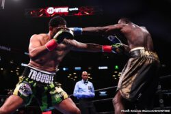 """Deontay Wilder, Dominic Breazeale - WBC heavyweight champion Deontay """"The Bronze Bombder"""" Wilder (41-0-1, 40 KOs) poleaxed mandatory challenger Dominic Breazeale (20-2, 18 KOs) scoring a beautiful highlight reel first round knockout on Saturday night at the Barclays Center in Brooklyn, New York. Wilder hurt Breazeale with a right hand."""