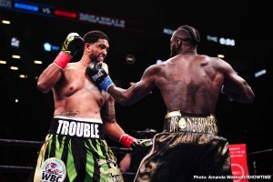 """Dominic Breazeale - WBC heavyweight champion Deontay """"The Bronze Bombder"""" Wilder (41-0-1, 40 KOs) poleaxed mandatory challenger Dominic Breazeale (20-2, 18 KOs) scoring a beautiful highlight reel first round knockout on Saturday night at the Barclays Center in Brooklyn, New York. Wilder hurt Breazeale with a right hand."""