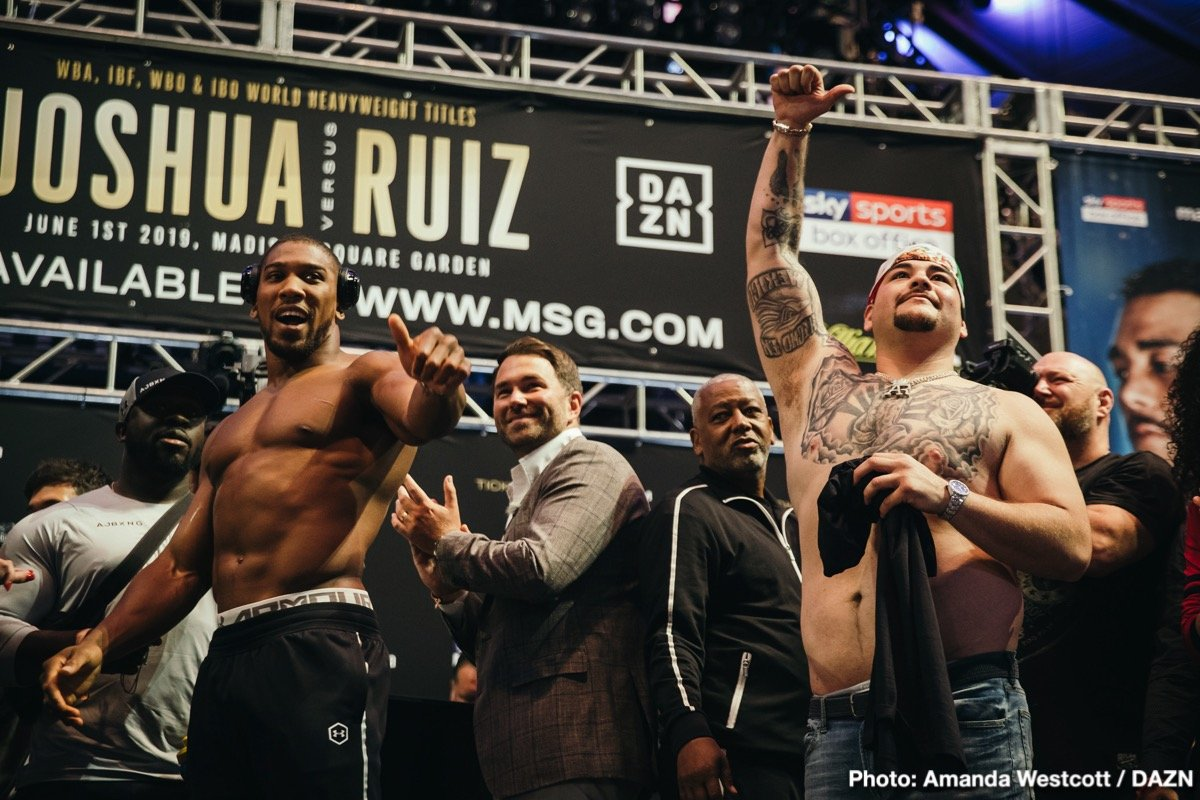 "Andy Ruiz, Anthony Joshua - It's fight week! And what a massive fight we have to look forward to this Saturday night. Promoter Eddie Hearn, who says he has never felt quite the way he is feeling right now – nervous, excited, tense – has gone as far as to say the Andy Ruiz-Anthony Joshua rematch is ""the fight of the century,"" and though we had the big dud that was the Floyd Mayweather-Manny Pacquiao fight this century (2000 to current day), maybe the heavyweight showdown the whole world will be watching is indeed the biggest fight so far this century."