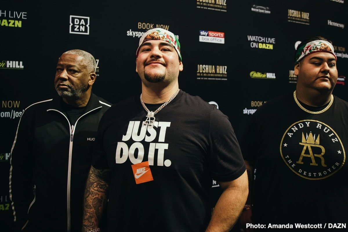 """Andy Ruiz - Has heavyweight champ Andy Ruiz dropped a ton of weight? Will he be 'half the man he once was' in his December 7 return fight with Amthony Joshua as a result of shedding too much weight? Ruiz has, in recent photos that have appeared online, appeared a vastly slimmer guy than we have grown used to. So what's the deal, has """"The Destroyer"""" focused too much on looking like the svelte athlete most casuals expect to see whenever the world champion, regardless of weight class, is introduced?"""