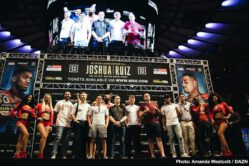 Andy Ruiz Jr, Anthony Joshua, Callum Smith, Hassan N'Dam, Josh Kelly, Joshua Buatsi, Ray Robinson - IBF/WBA/WBO heavyweight champion Anthony Joshua (22-0, 21 KOs) looked in superb shape in weighing in at a 247.8 pounds for his title defense against the less the svelte 268 pound Andy Ruiz Jr. (32-1, 21 KOs) for their important fight this Saturday night on June 1 at Madison Square Garden in New York. Their fight will be streamed on DAZN in the United States, and televised on Sky Box Office in the UK.