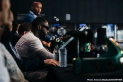 """Deontay Wilder, Dominic Breazeale, Gary Russell Jr., Kiko Martinez - WBC Heavyweight World Champion Deontay """"The Bronze Bomber"""" Wilder and mandatory challenger Dominic """"Trouble"""" Breazeale continued their war of words and further escalated their longstanding feud at the final press conference Thursday ahead of their showdown this Saturday live on SHOWTIME from Barclays Center, the home of BROOKLYN BOXING™, and presented by Premier Boxing Champions."""