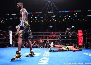 "Kiko Martinez -  WBC Heavyweight World Champion Deontay ""The Bronze Bomber"" Wilder delivered the 40th knockout of his career in devastating fashion Saturday night, sending mandatory challenger Dominic ""Trouble"" Breazeale flat on his back with a trademark right hand in front of a raucous crowd at Barclays Center, the home of BROOKLYN BOXING™, in an event presented by Premier Boxing Champions. Successfully defending his belt for the ninth time, Wilder joins illustrious company alongside Hall of Famers Joe Louis, Muhammad Ali, Mike Tyson and more and becomes the 10th fighter in history to make nine or more consecutive successful heavyweight title defenses. Watch HERE: https://s.sho.com/2Hp0AEh"