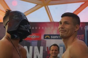 Anthony Yigit - Anthony Yigit surprised fans by dressing as Darth Vader at the weigh-in today in Frankfurt ahead of his fight with Sandro Hernandez at the Fraport Arena.