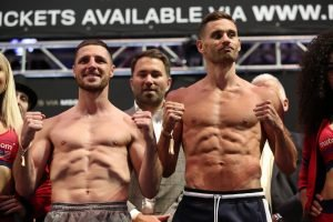 Tommy Coyle - WBO International champion, CHRIS ALGIERI (23-3 8KO's) and challenger, TOMMY COYLE,(25-4 12KO's), faced off one last time this morning at Madison Square Garden, at the official weigh-in ahead of tomorrow night's highly anticipated fight card at the mecca of boxing. Algieri and Coyle will do battle on Saturday night, with world title implications on the line. This will be Algieri's first defense of his WBO International title that he won at The Garden back in January. As both promoters, JOE DEGUARDIA of STAR BOXING, and EDDIE HEARN of MATCHROOM BOXING stated at Wednesday's presser, the winner of this fight will likely be fighting for a super lightweight championship of the world, next.
