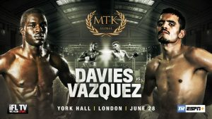 Miguel Vazquez - Ohara Davies returns against former world champion Vazquez - Davies will clash with former long-reigning lightweight world champion Vazquez at York Hall on June 28 – live on ESPN+ in association with Top Rank.